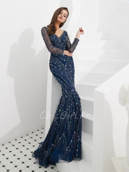 Magnifique Robe De Soiree Luxe Cintree Manche Longue Bleu Marine Paillette Brillante