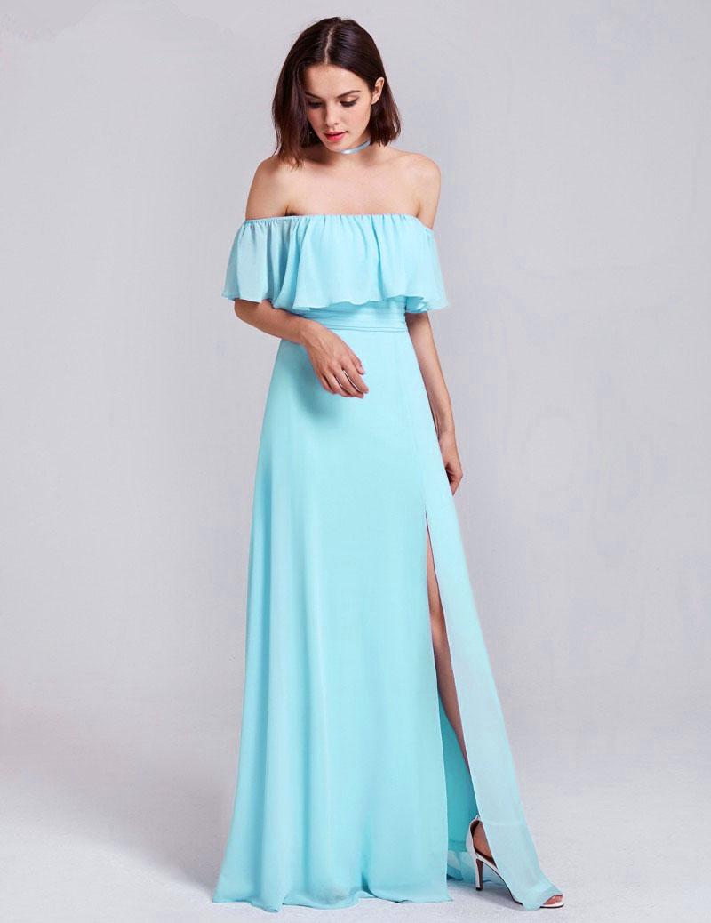 Robe Demoiselle D Honneur Boheme Epaule Denudee Longue Mousseline Bleu Ciel